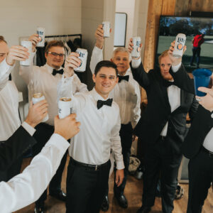 groom and his men toast to the big day