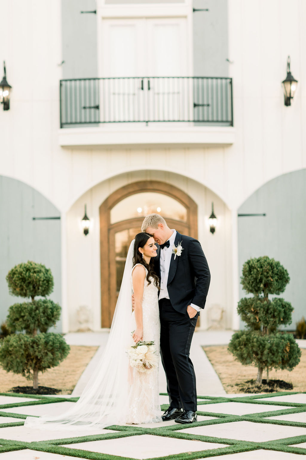 gorgeous dress from local bridal boutique and posed at the French farmhouse
